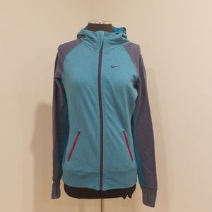 Nike Dri-Fit Teal/Navy Size S Hooded Zip-up